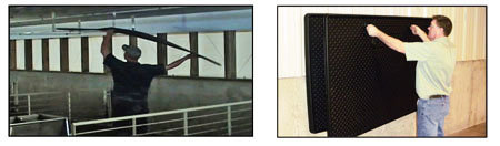 Easily store pig mats on shelf or hang on wall