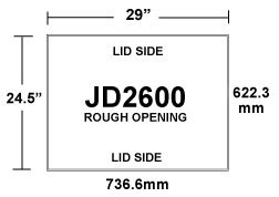JD2600 Ceiling Inlet Rough Opening