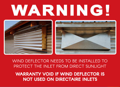 DirectAire Inlets Need a Wind Deflector